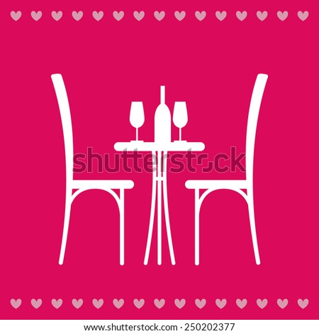 Wine on the table and chair silhouette. Silhouette of a table in a cafe. Table with wine and glass and with a chairs beside him. Interior of the cafe. Table in the restaurant for two. - stock vector