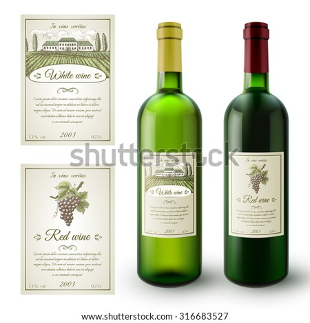 Wine realistic bottles and paper sticky labels set isolated vector illustration - stock vector