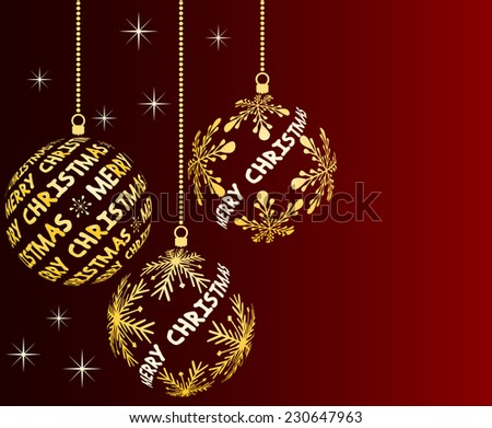 wine red christmas background with balls and place for text - stock vector