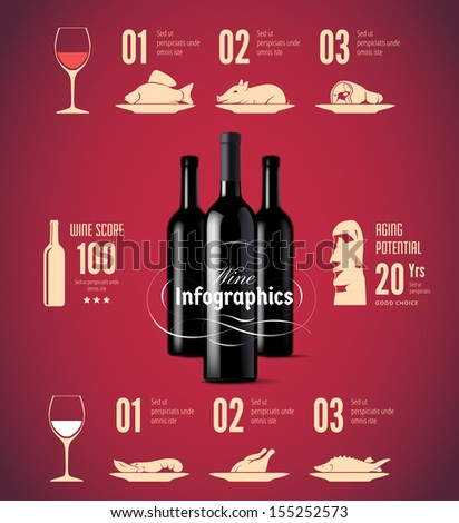 Wine related vector icons / can be used for infographics - stock vector
