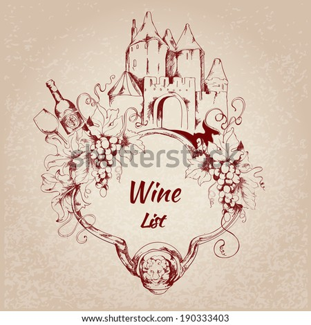 Wine restaurant list card with grape house bottle elements vector illustration - stock vector