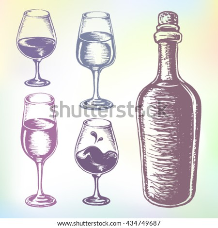Wine set. Hand-drawn wine vector. Grape wine or beverage alcohol drink set. Ink drawn grape wine illustration with wine, wine bottle, wine glass, wine container, wine tumbler and wine goblet. - stock vector