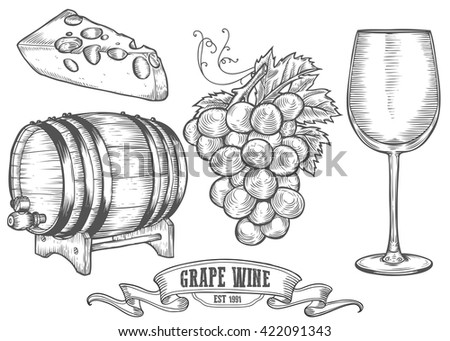 Wine set. Wine making products in sketch retro vintage style. Hand drawn wine Vector sketch illustration with wine barrel, grapes, wine glass, cheese, grape twig. Classical alcoholic wine drink. - stock vector