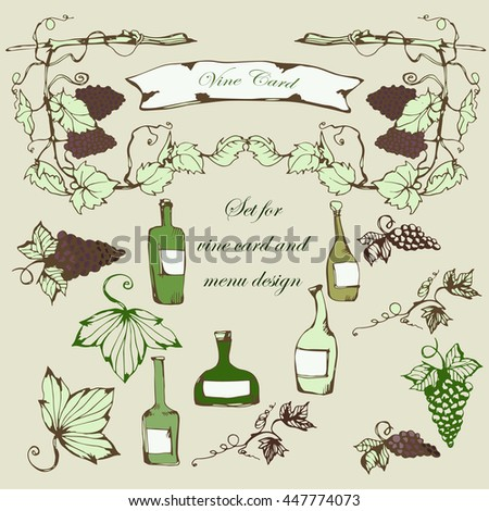 Wine set. Winemaking products in sketch style. Vector illustration with wine, wine glass, grapes, grape twig, frame. Classical alcoholic drink. wine design elements. - stock vector