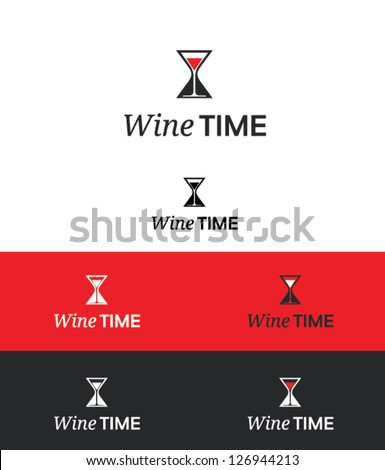 wine time idea vector - stock vector
