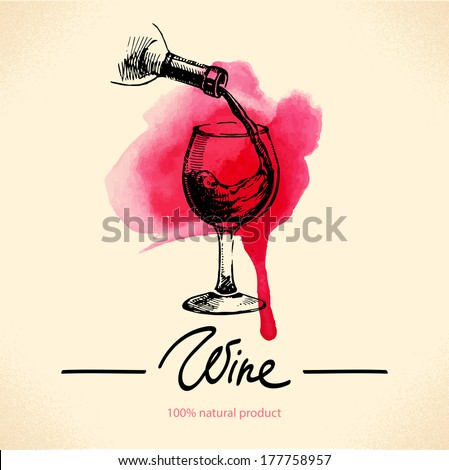 Wine vintage background. Watercolor hand drawn sketch illustration. Menu design - stock vector