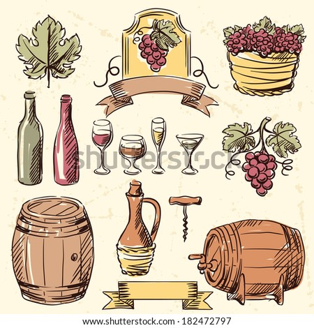 Wine vintage hand drawn set. - stock vector