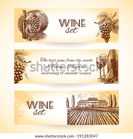 Wine vintage sketch decorative hand drawn banner set isolated vector illustration - stock vector