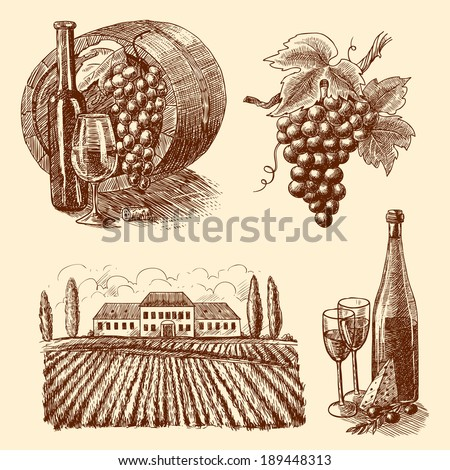 Wine vintage sketch decorative icons set of barrel grape branch winery isolated vector illustration - stock vector