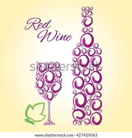 Wine. Wine Glass. Wine List. Wine Menu. Wine Party. Wine Bottle. Red Wine. Red Wine Glass. Red Wine Bottle. Red Wine Grapes. Wine Background. Wine Bar. Vector Wine Bottle and Wine Glass. Wine Tasting. - stock vector