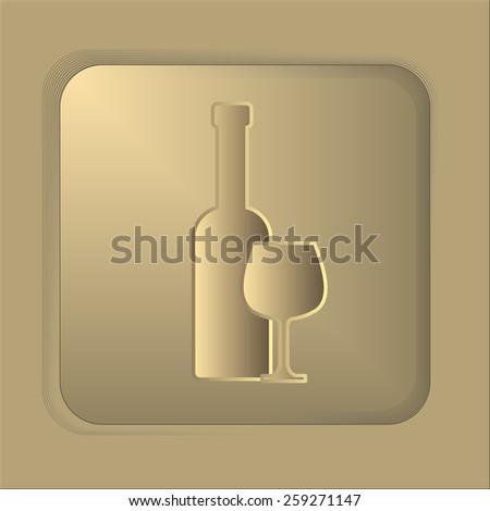 wineglass with bottle icon. silhouette of wine bottle and glass. Vector illustration. - stock vector
