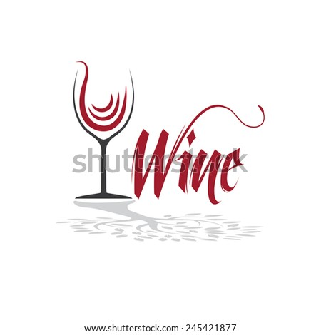 wineglass with tree shadow vector design template - stock vector