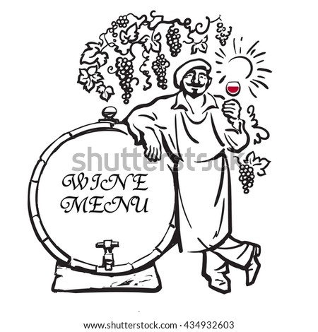 Winemaker tasting red wine in glass, smiling, leaning on barrel in vineyard Hand drawn sketch vector Design for wine menu. invitation for wine tasting party, restaurant menu, wine list, wine card, bar - stock vector