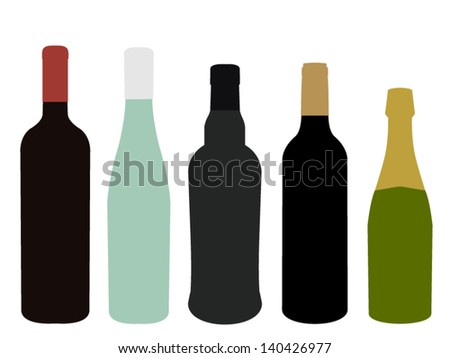 Wines of Europe Without Label - stock vector