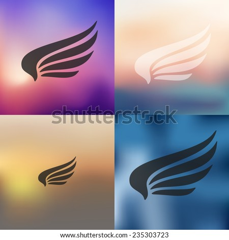 wing icon on blurred background - stock vector