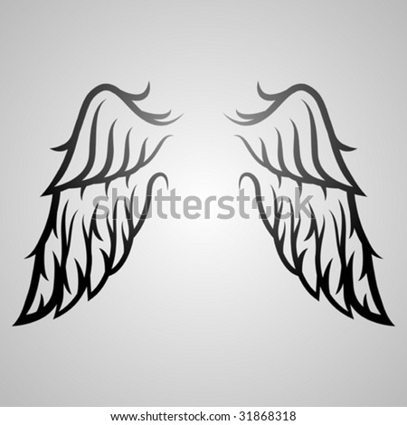 wing ornament - stock vector