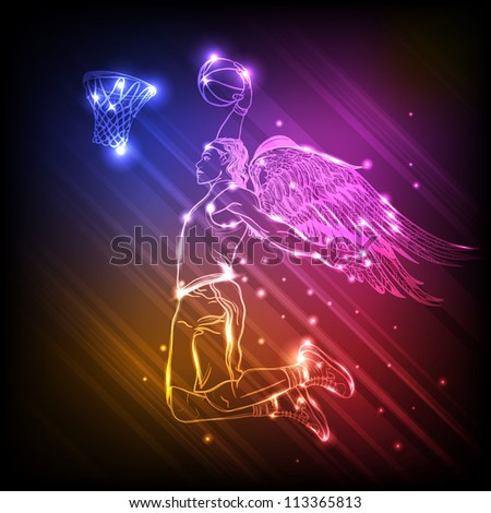 Winged basketball player - stock vector