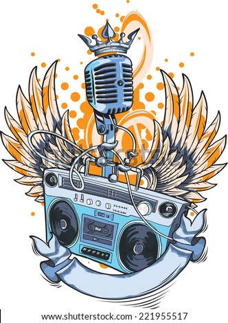 Winged boom box & microphone - stock vector