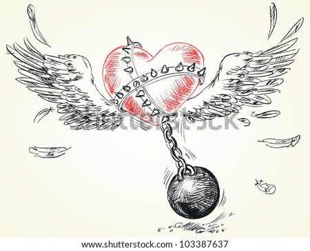 Winged heart fettered fetters. Hand-drawn. Vector version of raster image - stock vector