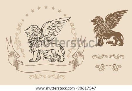 Winged Lion Insignia - stock vector
