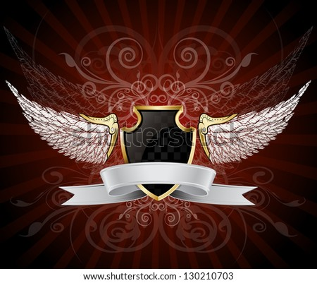 Winged Shield and Banner - stock vector