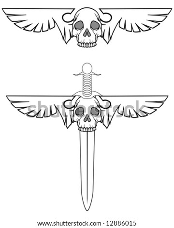 winged skulls - stock vector