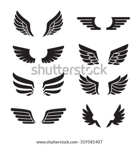 Wings black icons vector set. Modern minimalistic design. - stock vector
