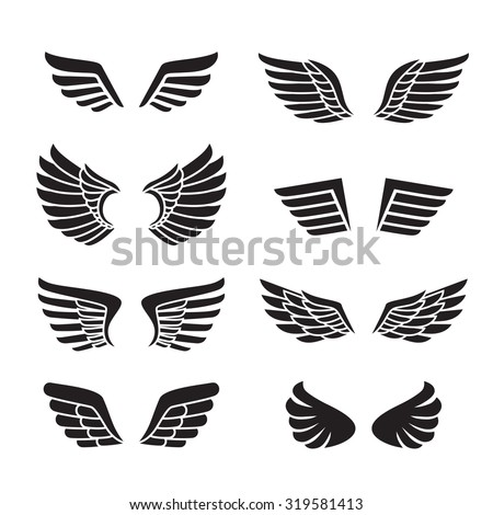 Wings black icons vector set (silhouettes). Modern minimalistic design. - stock vector