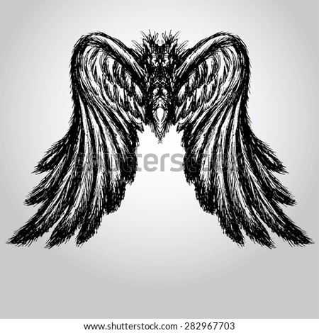 Wings,hand drawing, vector illustration - stock vector