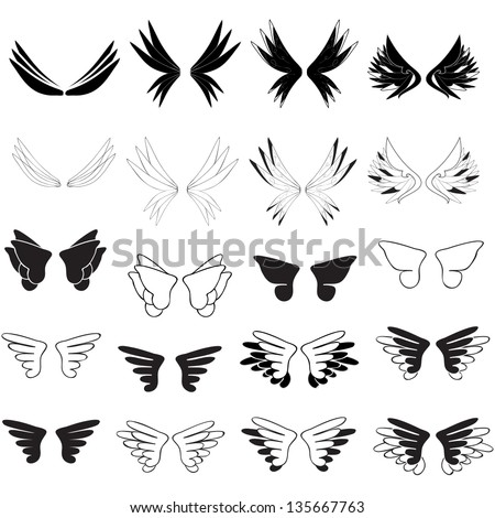 Wings - Hand Drawn - Set - Isolated On White Background - Vector Illustration, Graphic Design Editable For Your Design. Wings Logo - stock vector