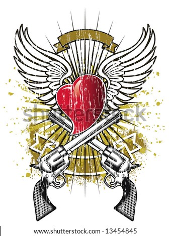 wings heart and guns emblem - stock vector