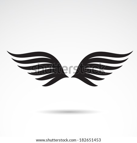 Wings icon design isolated on white background. VECTOR illustration. - stock vector