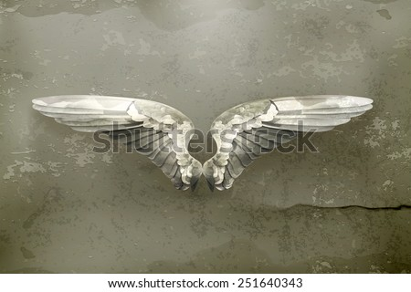 Wings, old style vector - stock vector