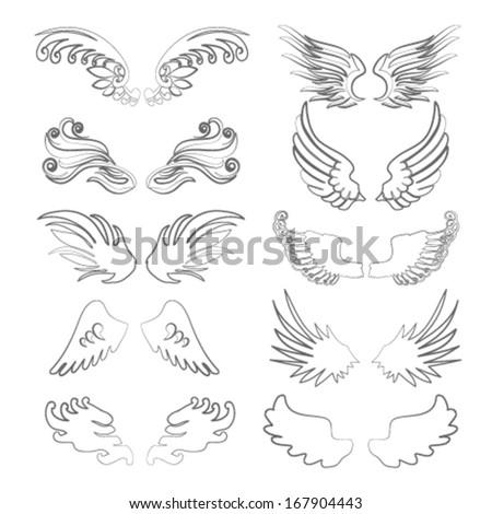 wings outline set in vector - stock vector