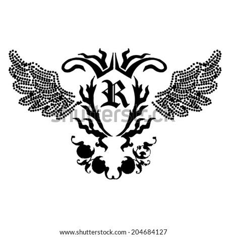 Wings,rock print in vector  - stock vector