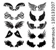 wings set in vector - stock vector