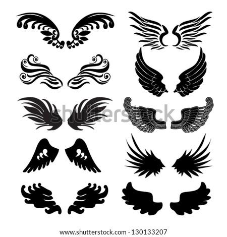 wings set in vector - stock vector