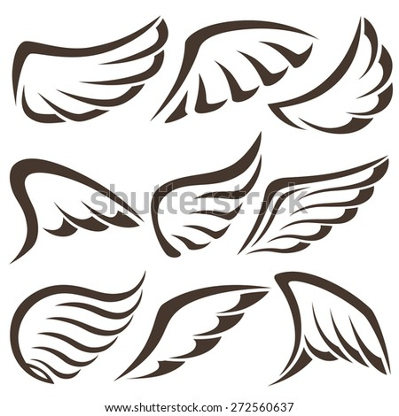 Wings. Set of design elements. Vector illustration. - stock vector