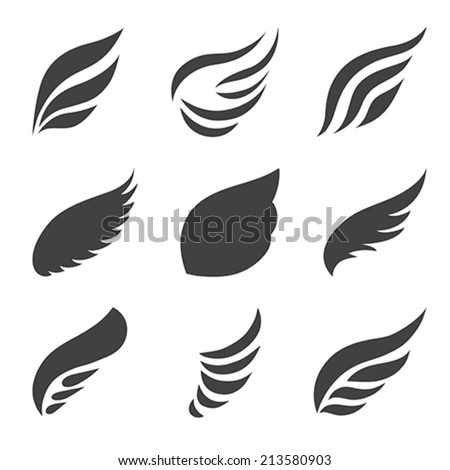 Wings set on white background.  Vector illustration. - stock vector