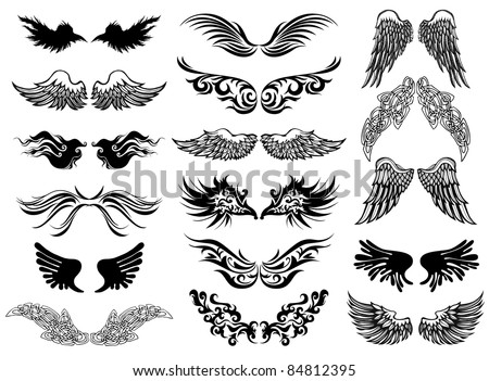 Wings tattoo vector set - stock vector