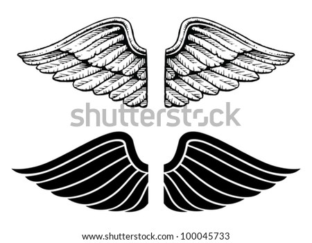 Wings Vintage and Graphic Style is an illustration of wings in two types. One is a vintage style and the other is a graphic style. - stock vector