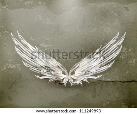 Wings white old-style vector - stock vector