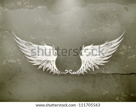 Wings white, old-style vector - stock vector