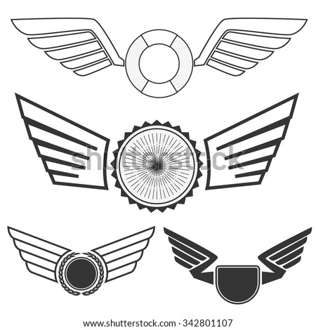 Wings with banners set on white background. Heraldic wings. Element for logo,label and emblems design. Vector illustration. - stock vector