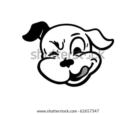 Winking Dog - Retro Clipart Illustration - stock vector