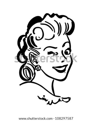 Winking Gal - Retro Clipart Illustration - stock vector