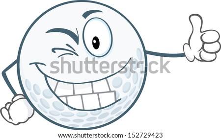 Winking Golf Ball Cartoon Character Holding A Thumb Up - stock vector