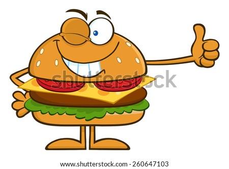 Winking Hamburger Cartoon Character Showing Thumbs Up. Vector Illustration Isolated On White - stock vector