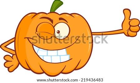 Winking Pumpkin Cartoon Mascot Character Giving A Thumb Up - stock vector