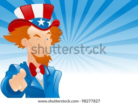 Winking Uncle Sam Retro Background - stock vector